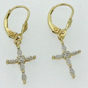IN SEARCH OF lever back gold & diamond earrings